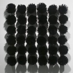 <i>Grid</i> Bamboo toothpicks, enamel paint and resin, 2009